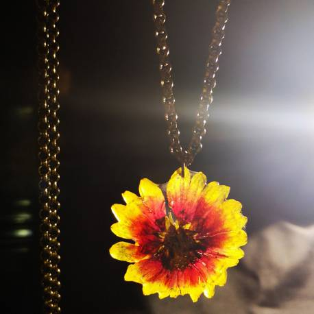 Necklace with real Gaillardia flower