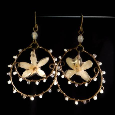 Handmade bronze earrings with real choisya flowers